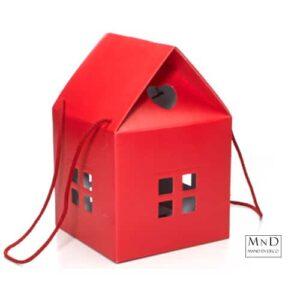 karton huisjes rood