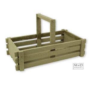 Krat taupe met hengsel hout