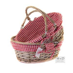 picknick mand met rood geblokt stof